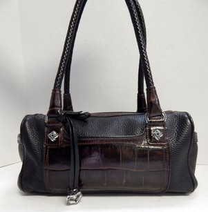 Brighton Brown Moc Croc Leather Satchel in Black