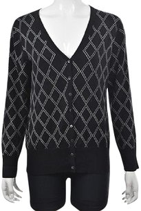 Brooks Brothers Womens Black Argyle Cardigan Silk Long Sleeve Sweater
