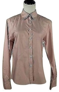 Brooks Brothers Womens Striped Shirt Button Down Top Pink