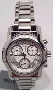 Bulova Bulova 23 Diamonds Chronograph Silver Womens Dress Watch 96r138 Links Missing