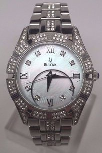 Bulova Bulova Dress White Mop Dial Crystals Stainless Steel Womens Watch 96l116