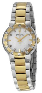 Bulova Bulova Mother of Pearl Diamond Two Tone Stainless Steel Ladies Watch 98R168