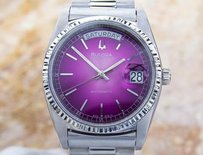 Bulova Mens Bulova Super Seville Day Date S.steel Automatic Watch 80s Scx339