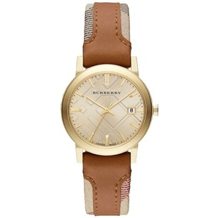Burberry Authentic classic nova check strap Gold dial Womens watch