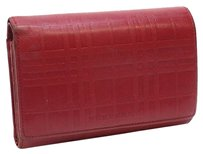 Burberry Authentic Red Leather BURBERRY Trifold Wallet 10074162