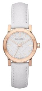 Burberry Authentic Rose Gold White Dial Ladies White Leather Band Watch