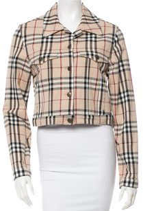 Burberry Beige Tan Black Multicolor Nova Check Nova Check Plaid Print Logo Monogram Denim New Silver Silver Hardware Longsleeve Beige, Multicolor Jacket
