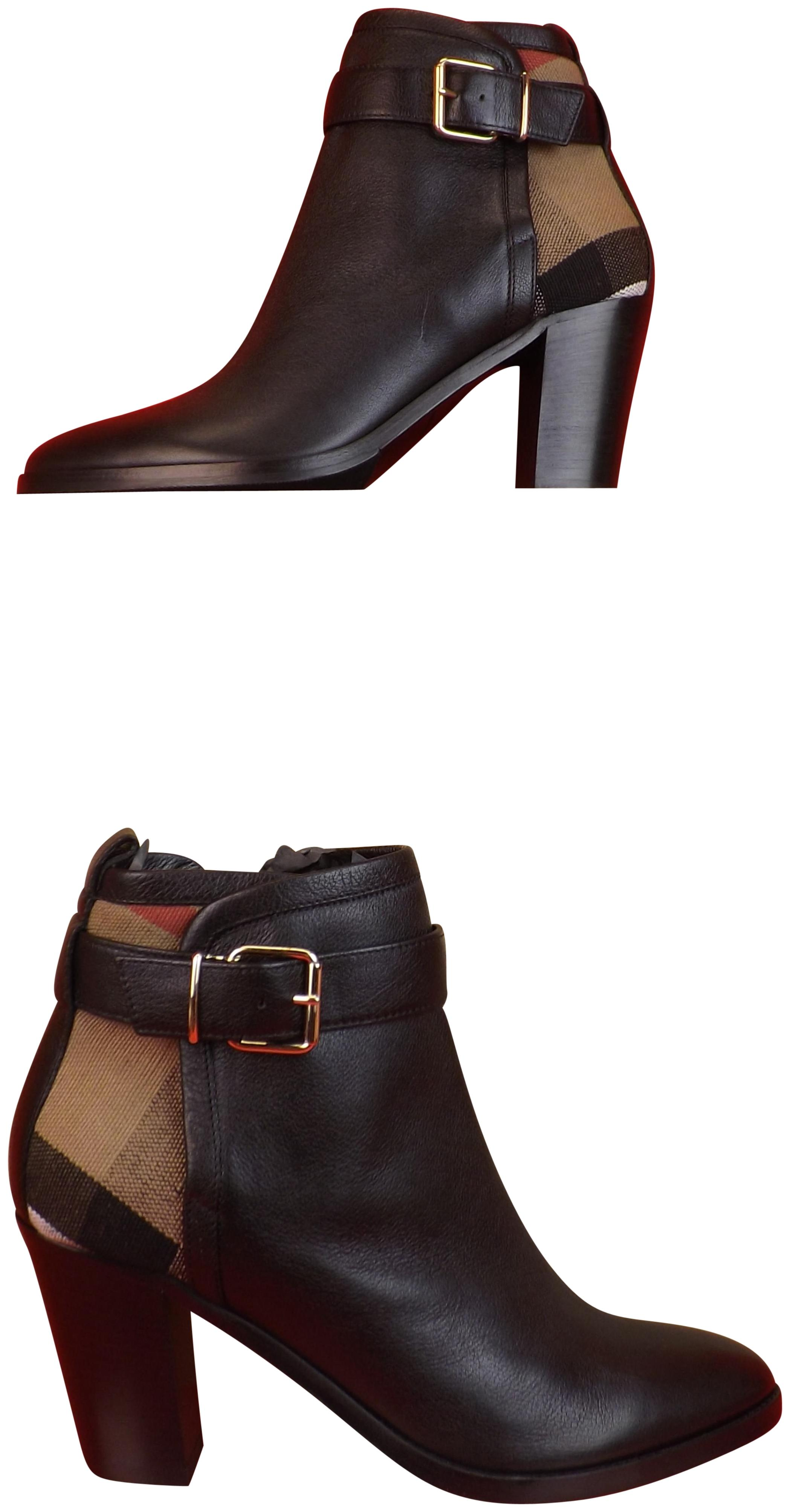 c8e631160ebb Gentlemen Ladies :Burberry Black Madelina Leather Check Check Check Canvas  Gold Belted Buckle Ankle Boots Booties Size EU 41 (Approx. US 11) Regular  (M