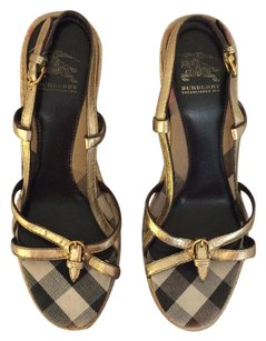 Burberry black plaid/beige/Ivory/Red Striped Wedges
