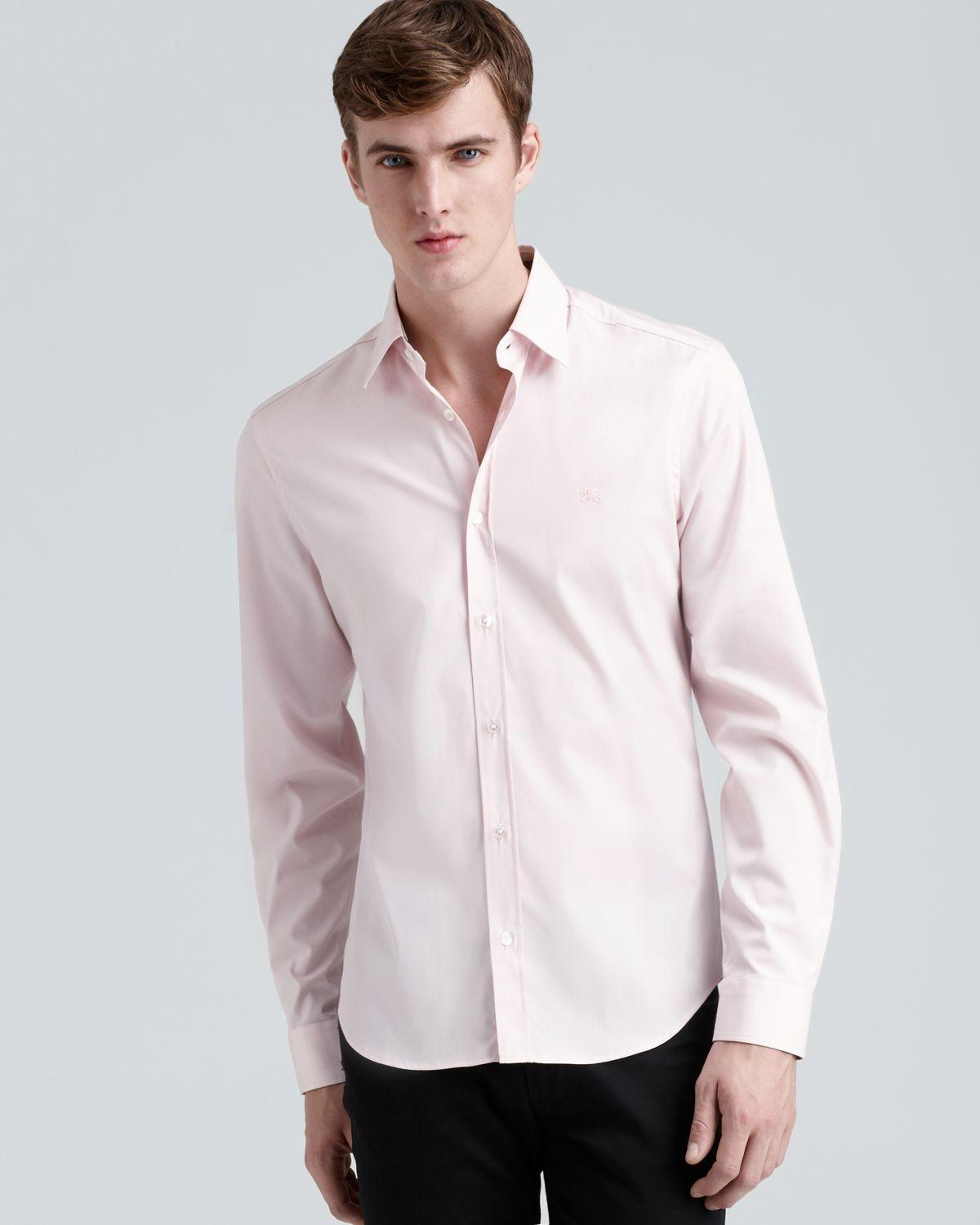 Burberry Brit Pale Pink Men's Henry Nova Check On Colar and Scuffs ...
