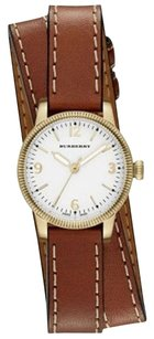 Burberry BU7850 the Utilitarian Brown Leather Wrap White Dial Womens Watch