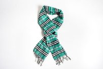 Burberry Burberry Green Black White Wool Plaid Fringe Scarf