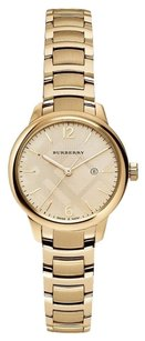 Burberry Check Gold Tone Stainless Bracelet Womens Watch BU10109