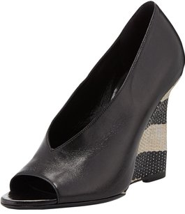 Burberry Fashion Beach Wedge Italy Black Wedges