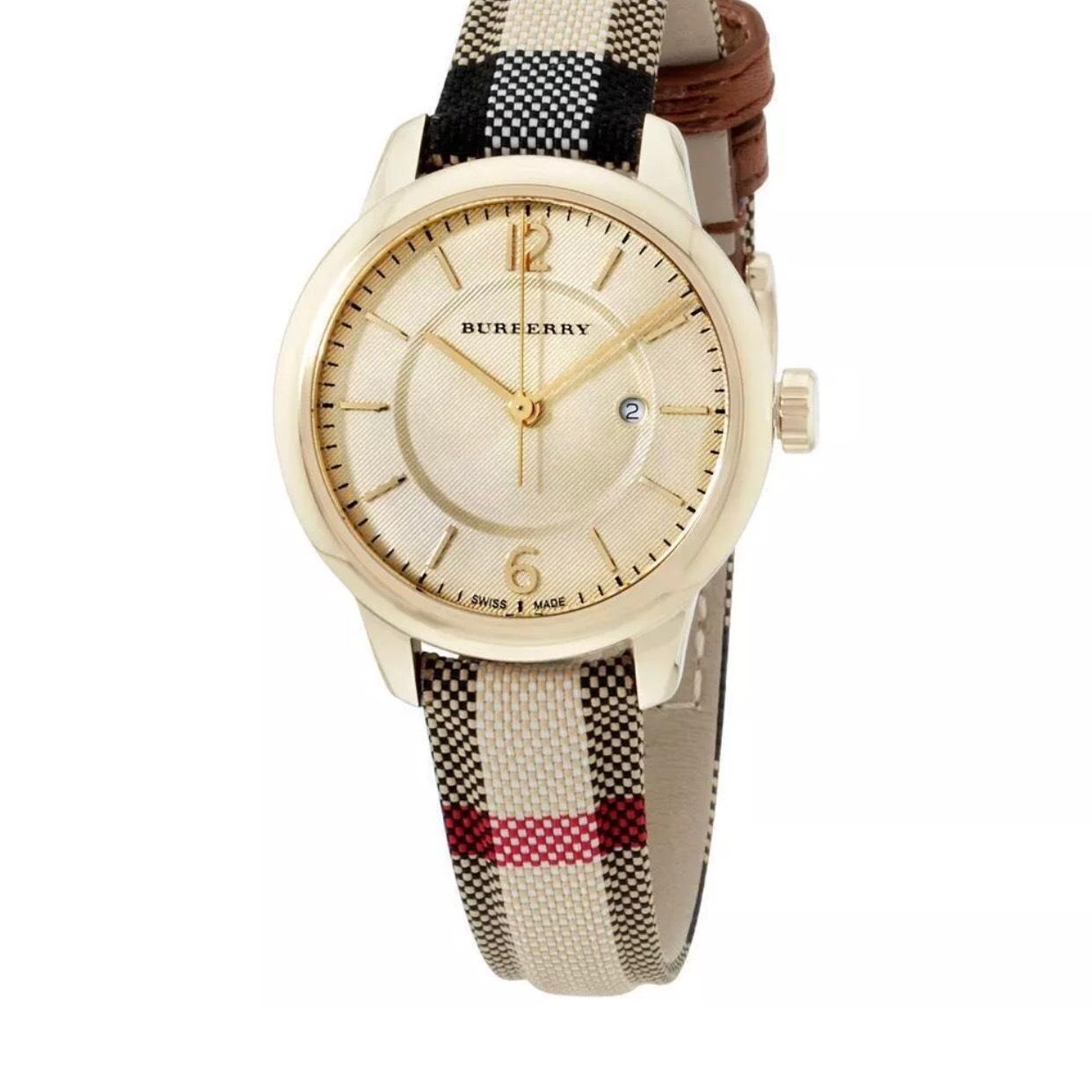 Burberry Burberry Women's Honey Check Heritage Leather Swiss Watch BU10104  ...