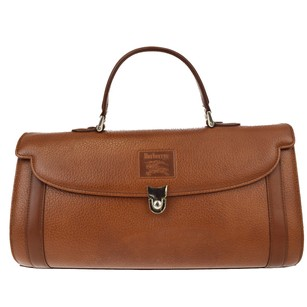 Burberry Hand Leather Nova Check Brown Travel Bag