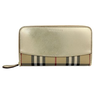 Burberry Horseferry Check Leather Ziparound Wallet - Gold