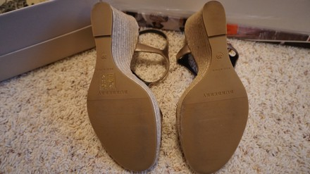 Burberry Leather Espadrille pale gold Wedges