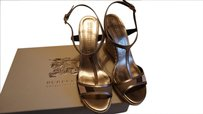 Burberry Leather Espadrille Wedge pale gold Wedges