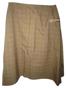 Burberry Leather Side Buckle Skirt lightweight wool olive green, red, and ivory window pane plaid
