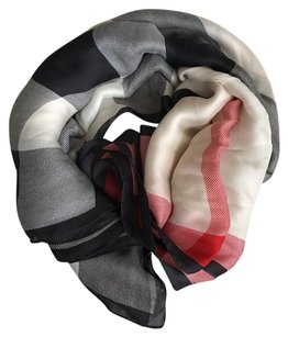 Burberry London Ultra Mega Check Washed Mulberry Silk Scarf