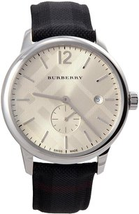 Burberry Men's Check Stamped Round Dial 40mm Watch, BU10008