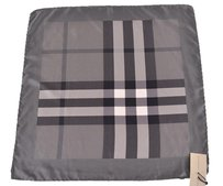 Burberry NEW BURBERRY $175 100% SILK CHARCOAL EXPLODED BEAT NOVA CHECK SQUARE TWILL SCARF