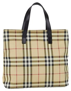 Burberry Nova Check Coated Canvas Tote in Beige