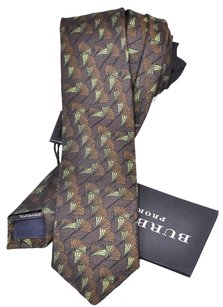 Burberry NWT BURBERRY PRORSUM $175 MID BROWN SILK FAN PATTERN SKINNY NECK TIE~ITALY