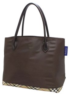 Burberry Nylon Blue Label Tote in Brown