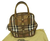 Burberry Owl Check Checkered Plaid Leather Handbag Limited Edition Gold Made In Italy Honey Tan British Satchel in Saddle Brown