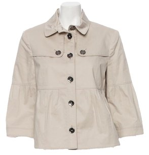 Burberry Swing Pleats Gunmetal Cotton Beige Jacket