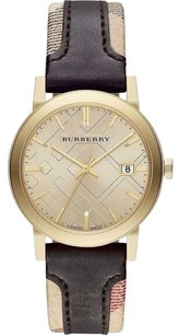 Burberry The City Women Watch Gold Tone Haymarket Chocolate Brown Leather