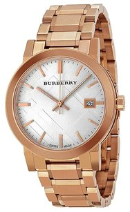 Burberry White Check Pattern Dial Rose Gold-plated Unisex Watch