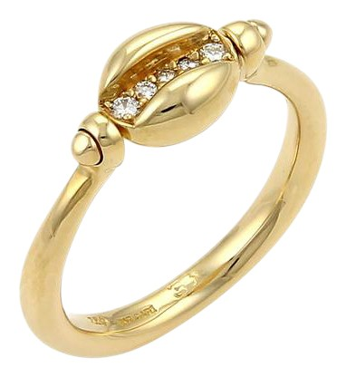 bvlgari bvlgari diamond 18k yellow gold swivel coffee bean ring