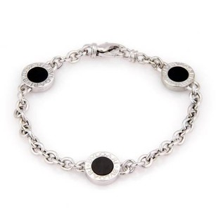 BVLGARI Bulgari Bvlgari 18k White Gold Onyx Circle Station Chain Bracelet