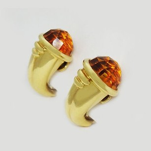 BVLGARI Bulgari Bvlgari 18k Yellow Gold Orange Citrine Clip On Earrings E60
