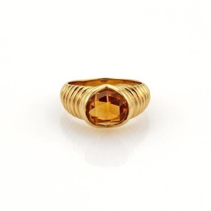 BVLGARI Bvlgari 2.5ct Citrine 18k Yellow Gold Ribbed Heart Design Solitaire Ring
