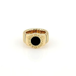 BVLGARI Bvlgari Bulgari 18k Yellow Gold Tubogas Onyx Ring -