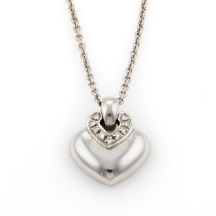 BVLGARI Bvlgari Dopio Cuore Diamonds 18k White Gold Heart Pendant Necklace