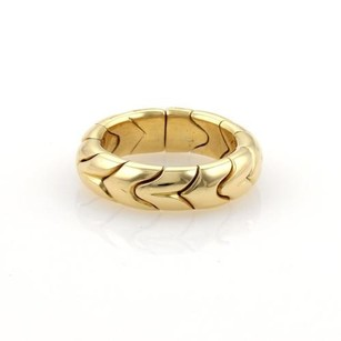 BVLGARI Bvlgari Spiga 18k Yellow Gold 6mm Fancy Design Dome Band Ring