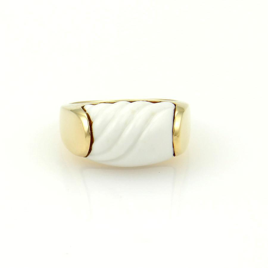 BVLGARI Yellow Gold White Ceramic Tronchetto 18k Carved Box Ring
