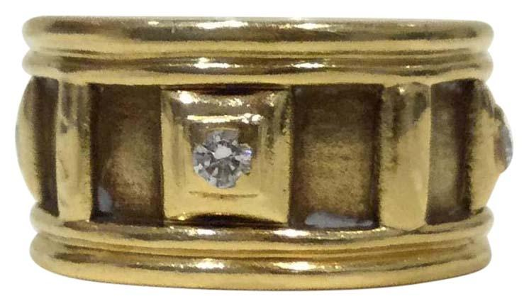 C. Silvera 18k Yellow Gold Diamond Ring Band Size 5    10mm Wide