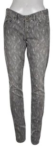 C. Wonder C Skinny Womens Gray White Printed Cotton Casual Pants Skinny Jeans