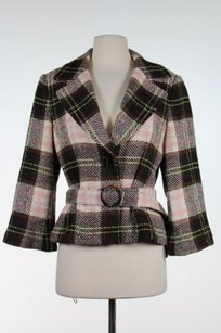 CAbi Womens Brown Green Plaid Coat Wool Blend Long Sleeve Pink Jacket