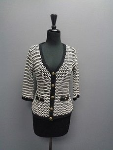 CAbi Black And White V Neck Button Up W Pockets Cotton Sm2247 Sweater