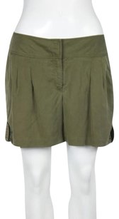 Cache Womens Solid Walking Pleated Dress Shorts Green