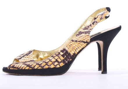 Cache Leather Snakeskin GOLD Sandals