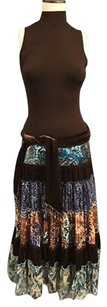 Cache Brown Blue Paisley Sleeveless Mock Neck Tiered Tie Around 031a Dress