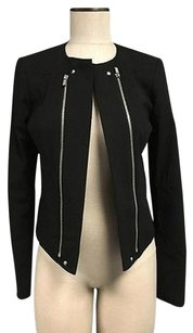 Calvin Klein Zipper Detail No Collar Asymmetrical Hem Sma3794 Black Jacket